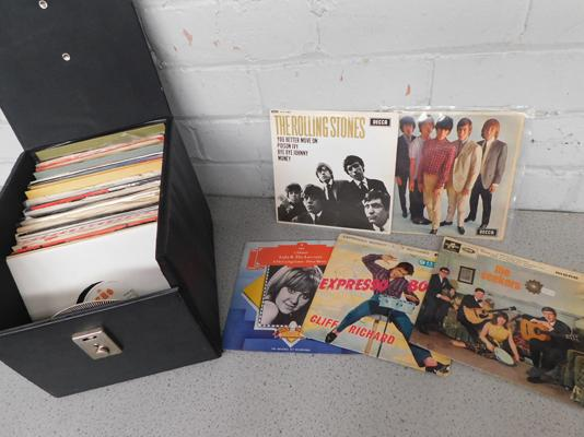 Case of mixed singles/EPs, incl. Rolling Stones (EP), demos