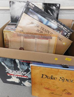 Box of LPs inc Bob Dylan, Anthrax, Madonna, 10cc, Elvis, Crosby, Stills & Nash etc approx 60
