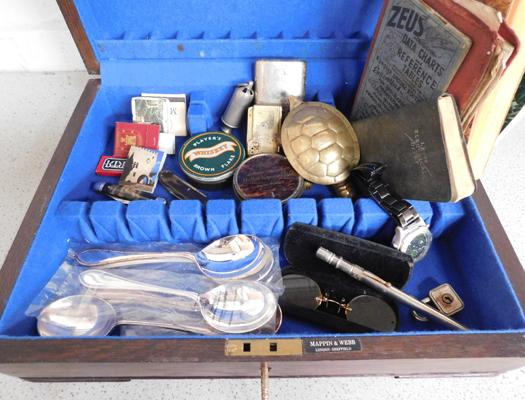Assortment of vintage items inc lighters, acme whistle, vintage thermometer, spectacles etc