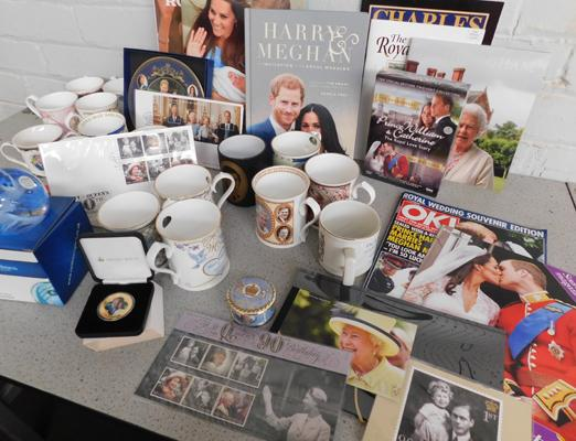 Collection of Royal memorabilia, incl. Aynsley mugs, plates & books, Caithness glass paperweight & stamps