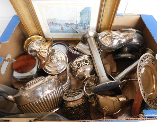 Box of antique & vintage silver plate