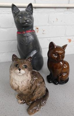 3 x cat figures, one Beswick