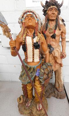 2 x large Red Indian resin figurines (damage to arm on one) - tallest approx. 23 inches