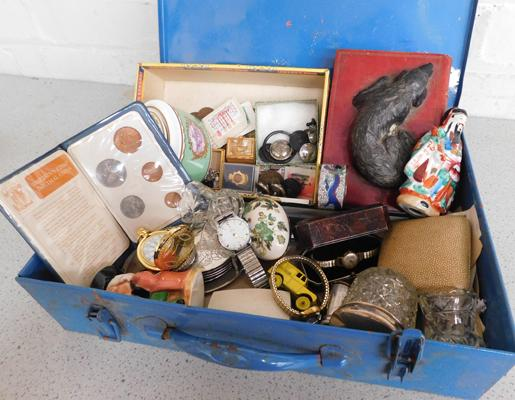 Vintage Deed box containing antique & vintage collectables, hallmarked silver, 1940s Smiths watch, jewellery, coins etc...