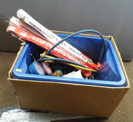 Box of brazing tackle inc guns & rods etc