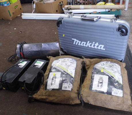 Selection of work items inc safety harness, Makita flight box, lights etc
