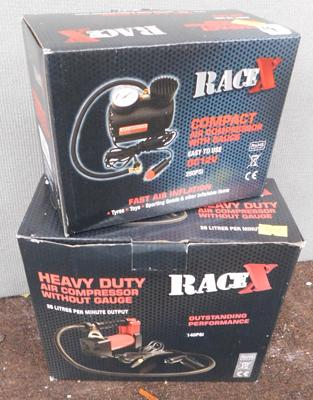 Two/new boxed Race X air compressors