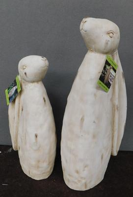 Pair of new stone effect garden rabbits
