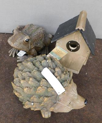 Three garden items (new/unused), incl. frog, hedgehog & bird box