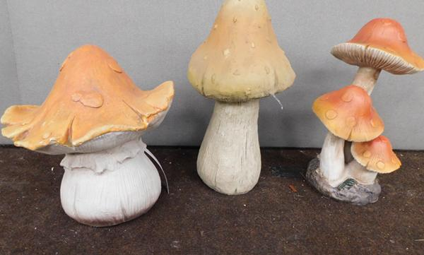 Three new mushroom garden ornaments