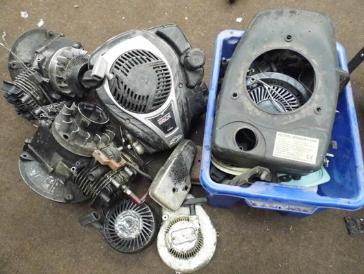 Selection of petrol lawn mowers engines & parts etc