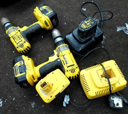 Selection of DeWalt battery drills, batteries & chargers