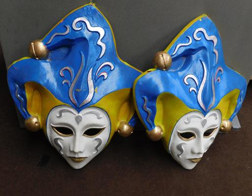 2x Large 75x65cm vintage masks, wall decorations