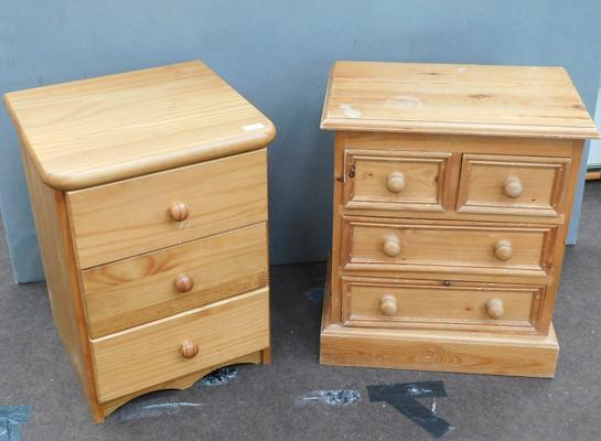 Pine bedside drawers & small pine 2 over 2 drawers