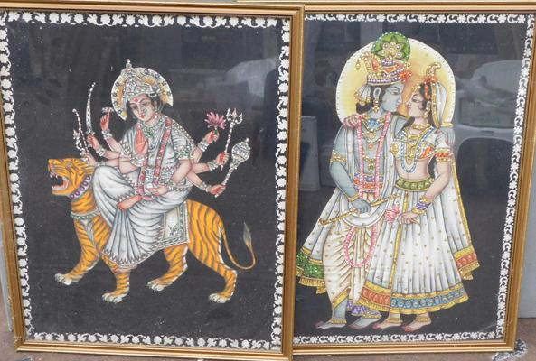 2x Framed Indian sequined embossed prints
