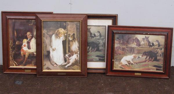 Four framed prints incl. dogs