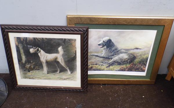 Two large framed dog prints, no glass in one, some marks