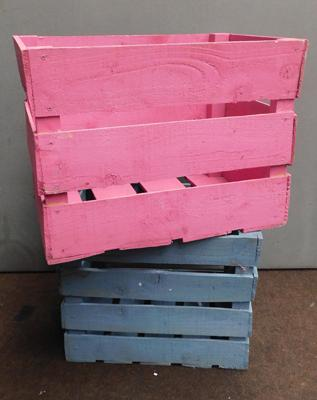 2x Large coloured display crates