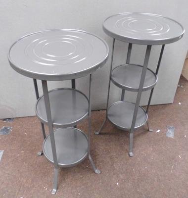 2x Round metal side tables