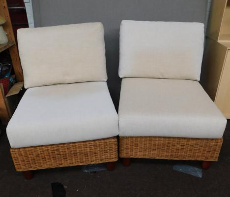 Pair of wicker conservatory chairs