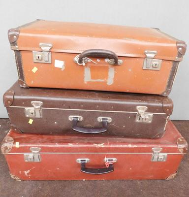 3 x vintage suitcases - widest approx. 27 inches wide