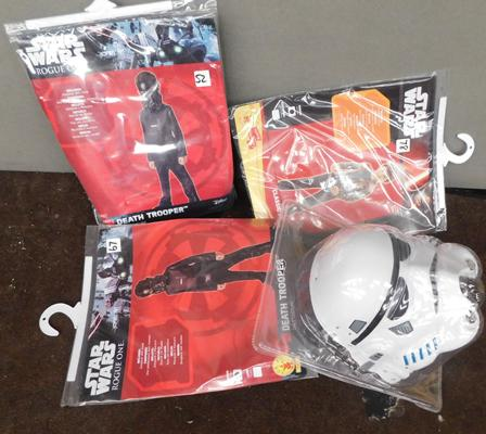 Three new/sealed Star Wars costumes + Storm Trooper mask