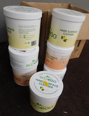 Box of seven tubs of Eco Egg hard surface cleaner (new)