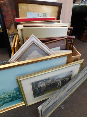 Large collection of approx. 40 framed oil, water colour prints + framed mirror