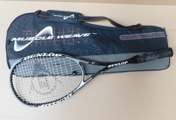 Professional Dunlop Premium Titanium squash racket in case with spare match grip