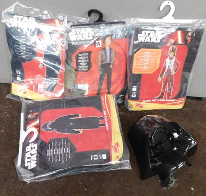 Four new/sealed Star Wars costumes & mask