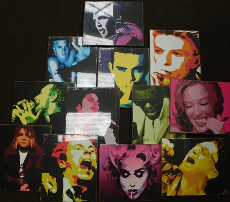 Full set of 12 pop Art paintings on board, approx 10 x 12 inches - in packaging