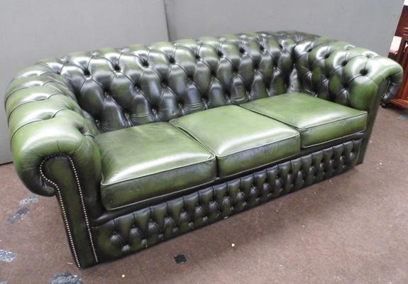 Leather bottle green 3 seater Chesterfield settee