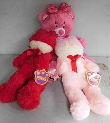 Disney Minnie Mouse teddy & 2 Paws teddies with tags
