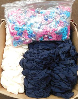 Box of approx. 200 hair scrunches & approx. 2500 bobbles