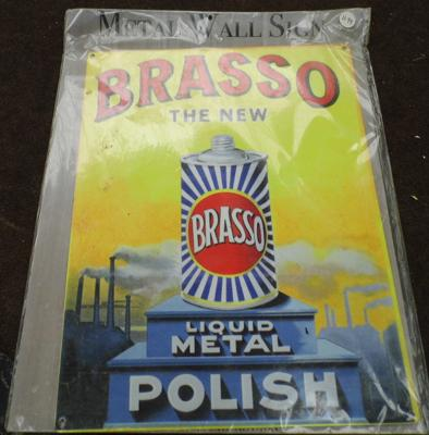 Reproduction Brasso tin plate sign