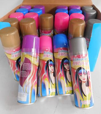 Box of 24 hair spray aerosols-5 different colours