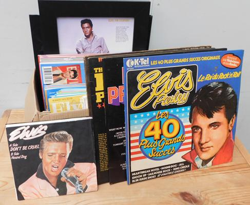 Elvis mags records framed pics etc