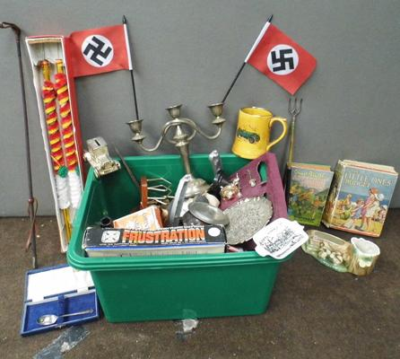 Box of vintage collectables incl.board games, diecast, militaria