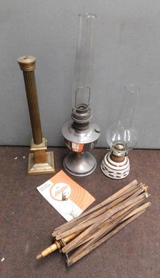 2x Vintage paraffin lamps & industrial mill machine part (crack to 1 chimney)