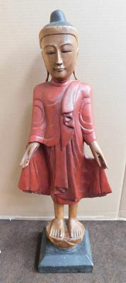 Eastern religious figure carved in fruit wood, approx. 23 inches - no damage