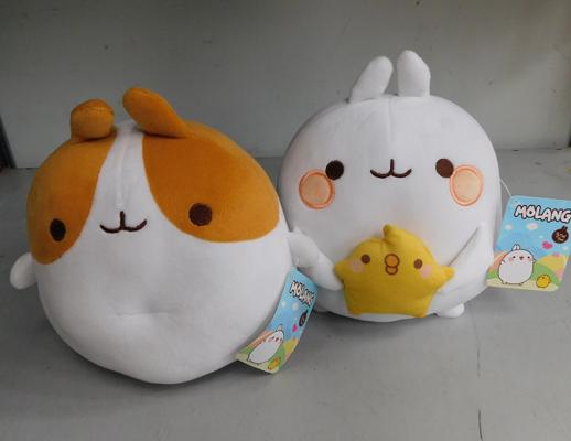 Pair of Molang teddies with tags