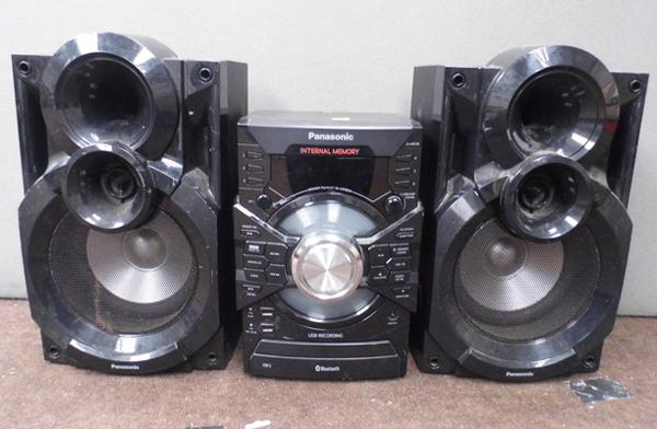 Panasonic hifi with bluetooth, MP3, USB, CD support & 2x monitors