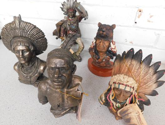 5 x American Indian figures (2 damaged)