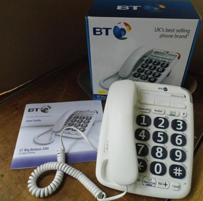 BT large button 200 corded phone with instructions & box