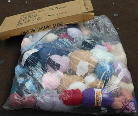 Bag of wool & knitting needles, tapestry table + sewing accessories etc