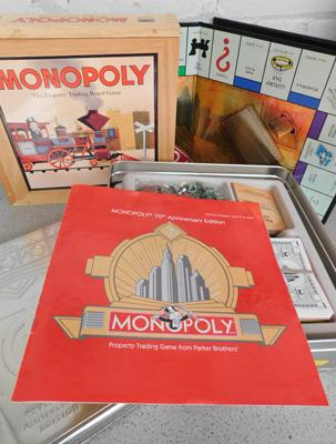 Monopoly 70th anniversary edition tin + 2003 edition wood box