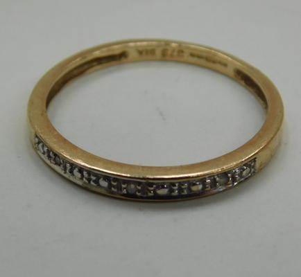 9ct Gold diamond 1/2 eternity ring size M1/2