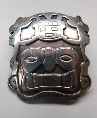 Unusual sterling silver brooch, Mayan style (Peru, 925) approx. 1.5 inches