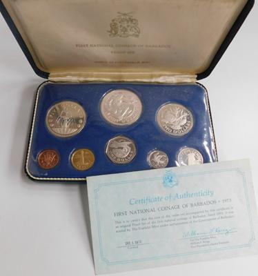 First National Coinage of Barbados cased set, 1973 with certificate