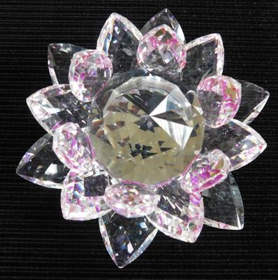 Swarovski rotating cut silver crystal flower paperweight